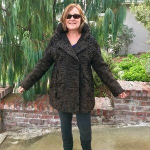 Jackets & Blazers - Swakara Fur Coat Pretty Lining Flat Pile Imported